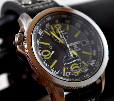 Seiko V172 0AG0 Prospex Solar Yellow Numbers Black Dial Men's Watch Leather Band Black Numbers Leather Band