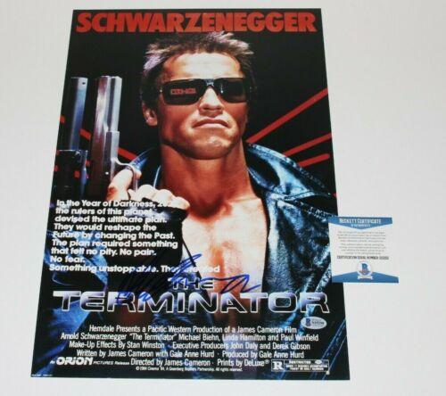 ARNOLD SCHWARZENEGGER SIGNED 'THE TERMINATOR' 12x18 MOVIE POSTER BECKETT BAS COA