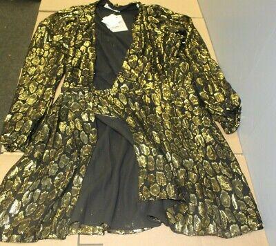 A.L.C Womens Elsa Marina Leopard Fil Coup Dress- Color Black/Gold Size 6 ()