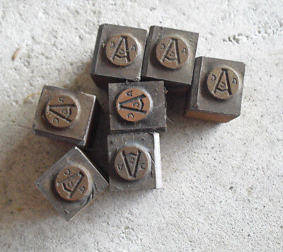 Lot Of 7 Vintage Acc Wood Metal Letterpress Print Block Stamps