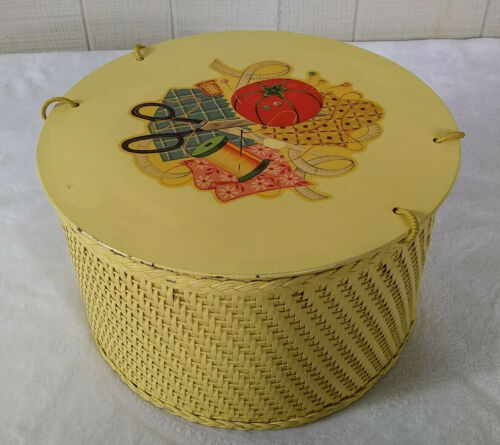 Vintage 1940s Princess Sewing Basket Round Wicker Decal Yellow