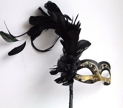 BLACK & GOLD LONG FEATHER VENETIAN  MASQUERADE  PARTY HAND HELD MASK ON A STICK - Venetian Masquerade Masks On A Stick