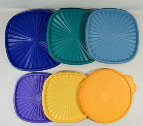 "LOT of 6 Replacement Tupperware Bowl Lids Pre-Owned 10"", 9.1"", 8.1"""