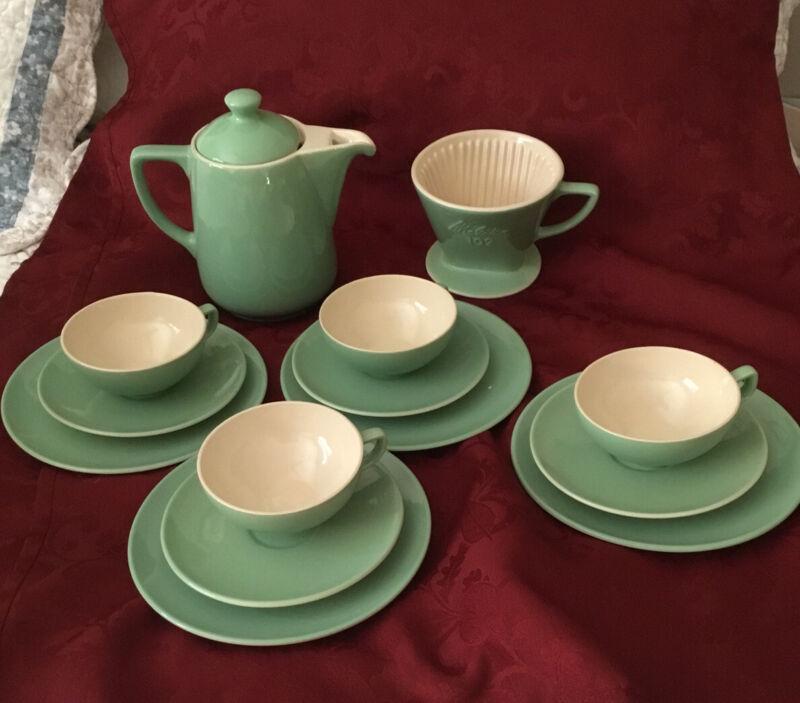 Large Vintage Melitta coffee filter 123 ceramic mint color Retro 1960s