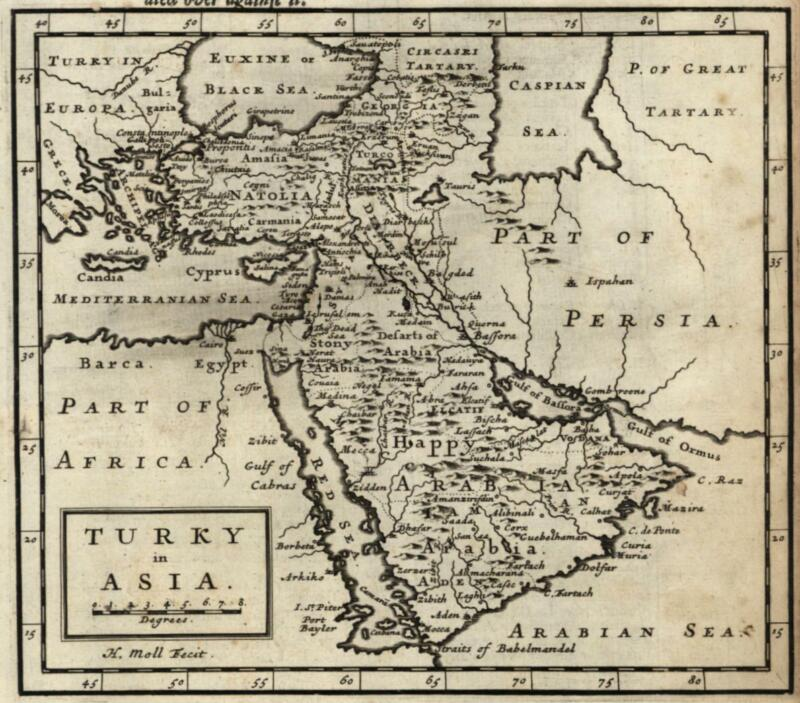 Arabian Peninsula Happy Arabia Middle East Holy Land 1701 Moll miniature map