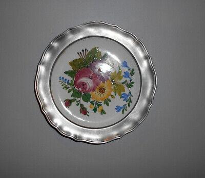 VINTAGE Assiette BASSANO motif fleurs avec Cadre en Étain #1