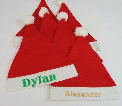 Christmas Personalised Santa Hats, Name embroidered, Sizes Adults and Childrens ](Childrens Santa Hats)
