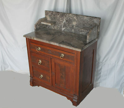Antique Victorian Walnut Eastlake Marble top Wash stand Commode
