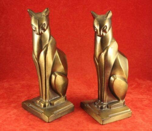 Pair Vintage Stylized Art Deco Cats - Brass or Gold Finish - Frankart