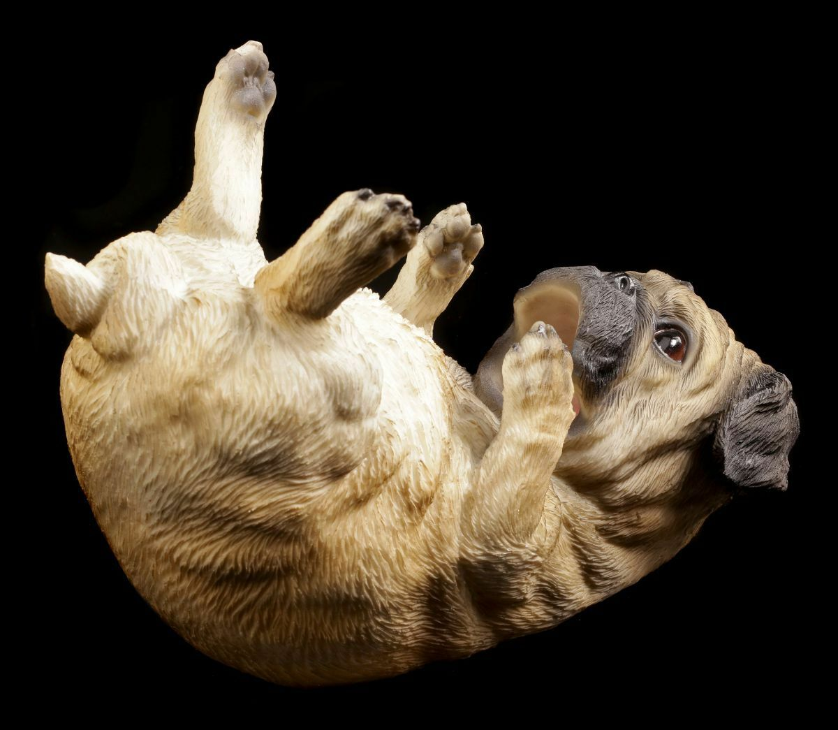 2er Set  Dekofigur Hund wie echt *Mops lebensgroß* Kunstharz beige  je 32 cm