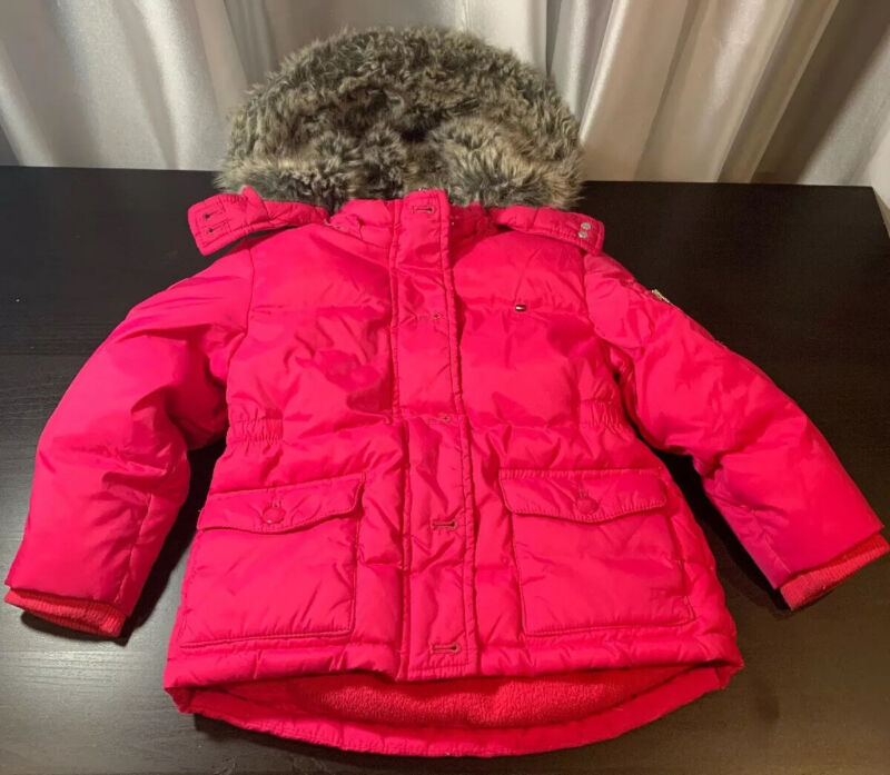 Tommy Hilfiger Pink Hooded Puffer Coat Removable Hood Faux Fur Toddler Girls 3T
