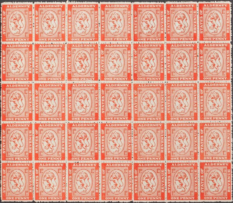 Alderney, Fiscal. MH / Mng /( ) Yv. 1939. 1 P Orange, Block Of Thirty And Five