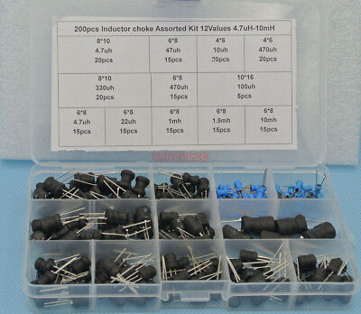 200pcs Inductor Choke Assorted Kit 12values 4.7uh-10mh