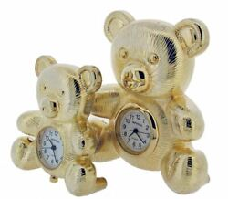 Gift Time Products Unisex Bear and Baby Bear Mini Clock - Gold