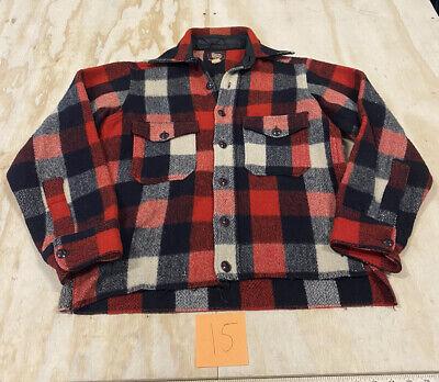 1940s Men's Shirts, Sweaters, Vests Vintage 1940s Woolrich Men's Size Small Plaid Long Button Sleeve Shirt $24.99 AT vintagedancer.com