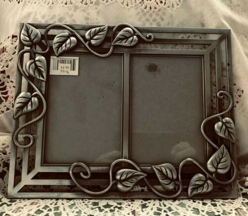 """RAJ DOUBLE PICTURE FRAME -  HOLDS 3.5"""" X 5"""" PHOTOS - METAL"""
