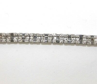 Emerald Cut Diamond Cluster Lady's Tennis Bracelet 14K White Gold 4.80Ct