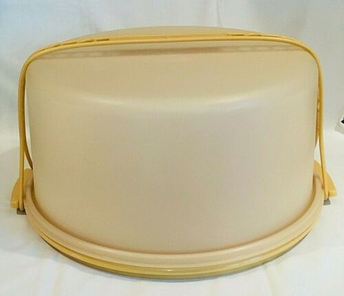 "TUPPERWARE LARGE 12"" MAXI JUMBO CAKE TAKER PIE CARRIER SNACKS KEEPER W/ HANDLE"