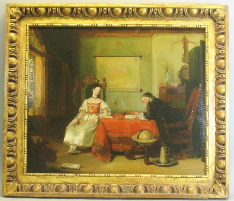"Large Early 19th C. Original Oil Painting ""the Lesson""  32"" X 37""  Exc. Cond."