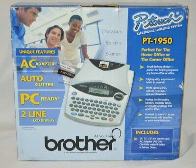 Brother P-touch Pt-1950 Electronic Label Maker Thermal Printer System Complete