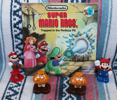 Vintage 80s Super Mario Bros BOOK & TOY Figures Lot! Racoon Goomba Peach 90s (Mario Racoon)