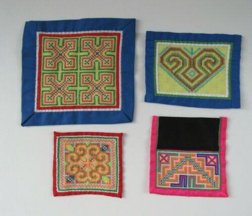 Hmong Lao Embroidery Story Cloth Needlework Hand-stitched Textile Folk Art 4 pcs