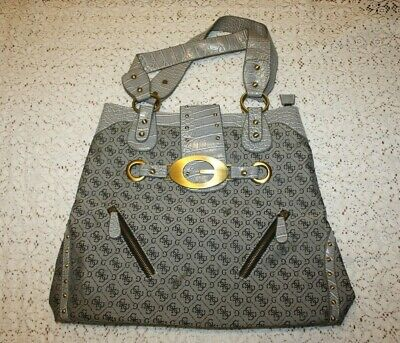 GUESS Large Tote Bag Silver Canvas Faux Leather Trim Beach Satchel