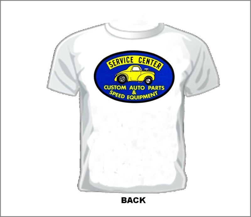 Vintage RACE/GASSER/DRAG T-shirt SERVICE CENTER CUSTOM AUTO PARTS & SPEED