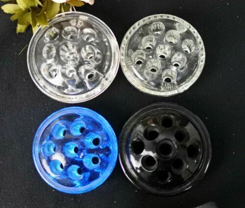 Lot Of 4 Vintage Glass Flower Frog Stem Black,Blue, Two Clear