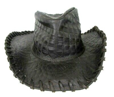 Henschel Australian Leather Croc Print Crocodile Hat Small Made In USA D Brown