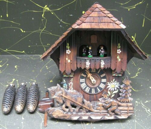 "large 3-chain German Cuckoo Clock w/ dancers, Swiss musical movement ""Edelweiss"""