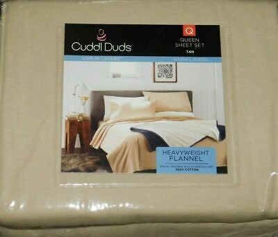 Cuddl Duds 4 piece Tan Queen Flannel Sheet Set *New with Tags* Tan Flannel Sheet Set