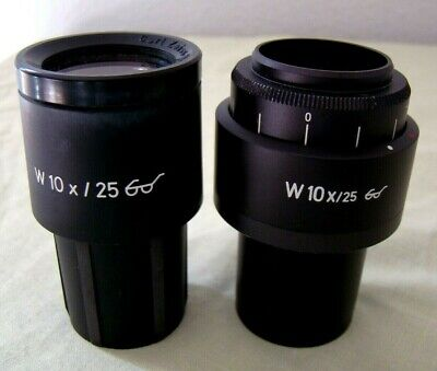 Zeiss 10x25 Microscope Eyepieces Pair With Graticule 46 40 03 - 46 40 02