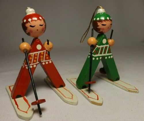 2 Vintage Wood Skiing Skiers Christmas Ornament  - Hand Painted - EXCELLENT