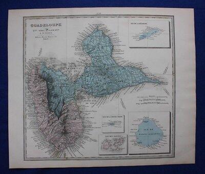 Original antique map GUADELOUPE, CARIBBEAN, Le Vasseur, Fisquet, Pilon, 1878
