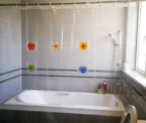 Clear plastic shower curtain with pockets