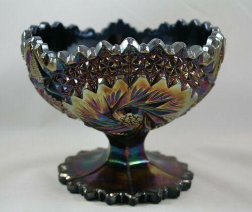 Fenton Amethyst Starburst Pinwheel Pattern Carnival Glass Compote Footed Bowl
