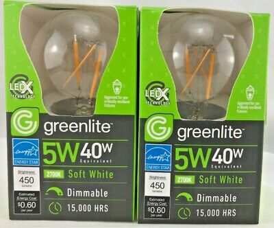 Greenlite LED A19 light bulb 5w = 40w Filament Dimmable soft white energy star