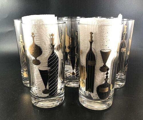MCM 8 Vintage Black Gold HighBall Glasses Barware Drink HTF Rose Bitter Verm Btl