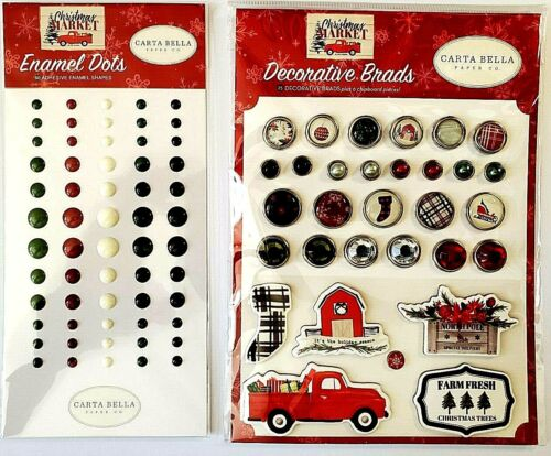 Christmas Market Decorative Brads & Enamel Dots Set of 2 Carta Bella