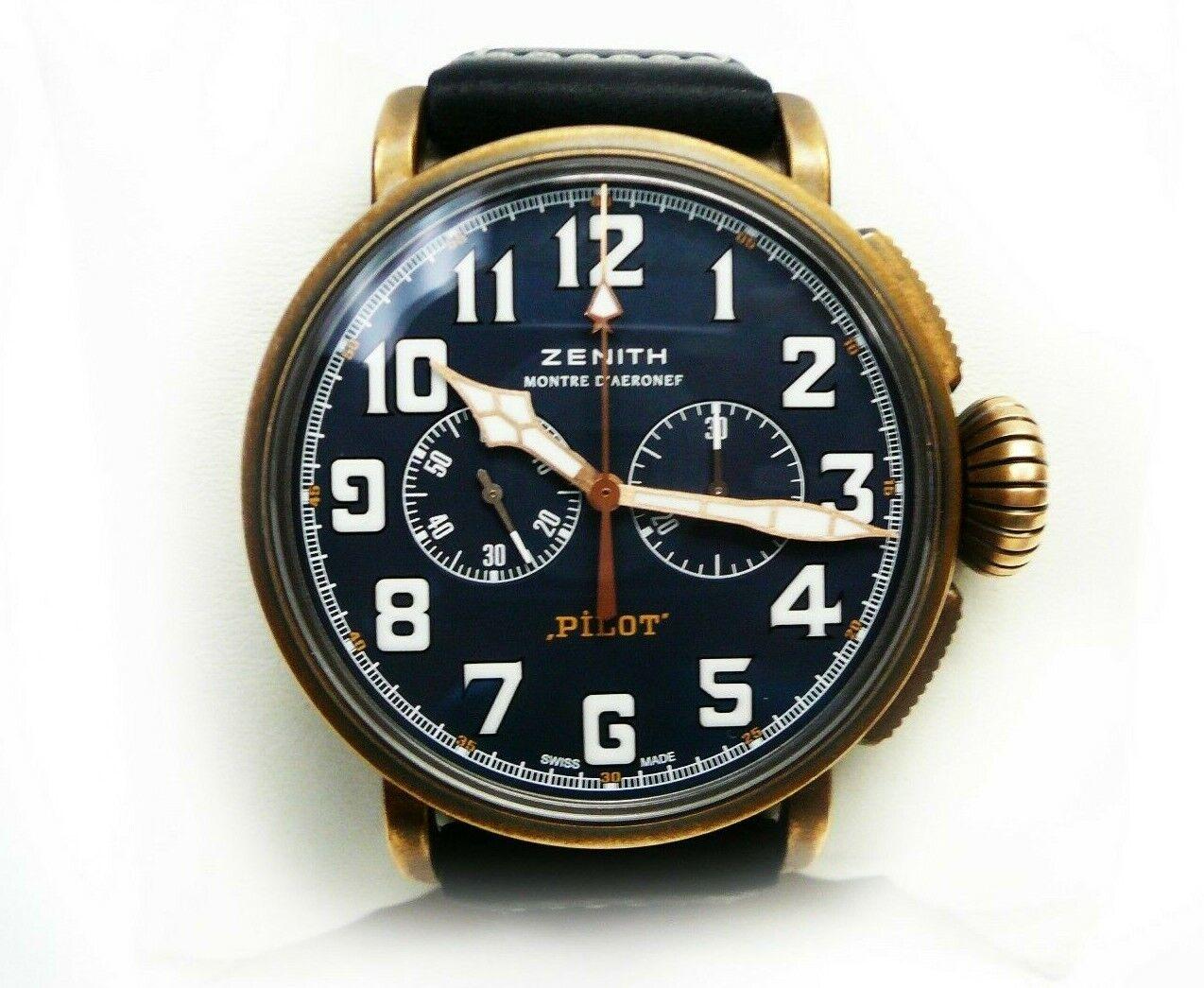 Zenith Pilot Type 20 Extra Special El Primero Bronze Case Blue Dial 29.2430.4069 - watch picture 1