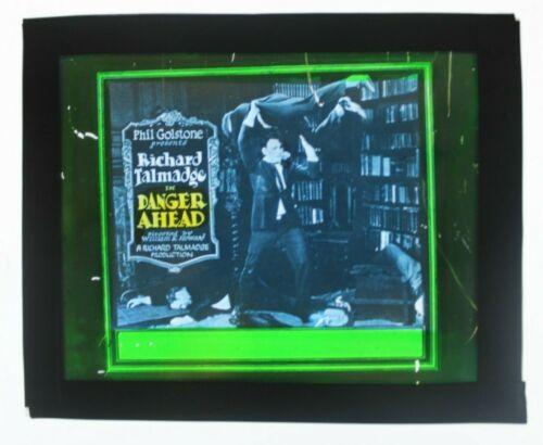 Danger Ahead 1923 glass slide - Richard Talmadge - free shipping