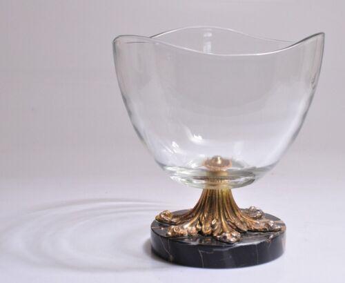 Vintage Large Crystal Glass Bowl Italian Marble Gold Gilt Metal Base Pedestal