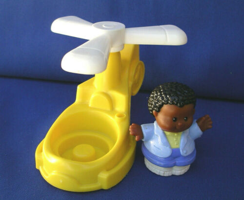 Fisher Price Little People YELLOW HELICOPTER Airport Chopper AA black set/lot