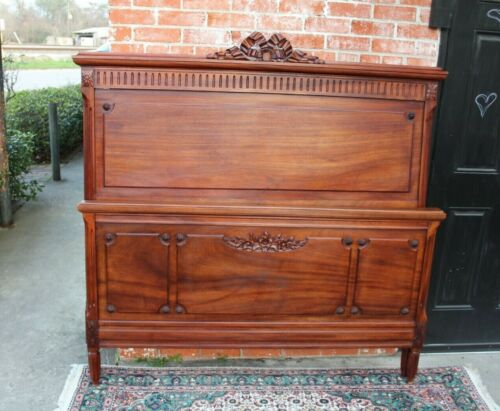 French Antique Carved Walnut Louis XVI Queen Size Bed | Bedroom Furniture