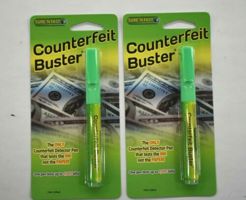 2 Pack Sure N Fast Counterfeit Buster Detector Pen Test for Fake Bills 7ml