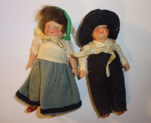 "Antique Pair Celluloid Dollhouse Dolls Original Dress 3 1/2"" Boy & Girl"