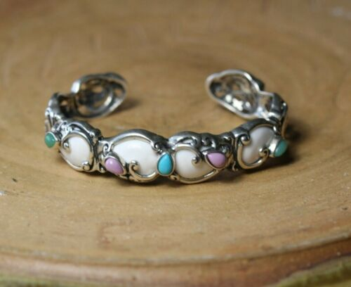 Carolyn Pollack Relios Sterling Silver Turquoise Multi Stone Cuff Bracelet