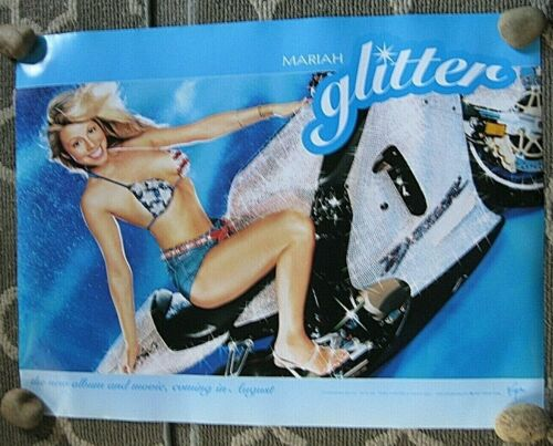 "MARIAH CAREY ""GLITTER"" U.S. PROMO POSTER -Bikini & Motorcycle 2001 - 18x24"""