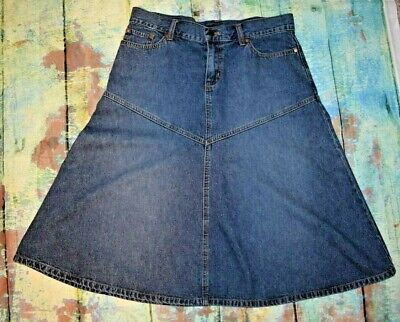 Vintage New York & Company Blue Jean Denim A-Line Skirt Size 10
